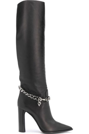 Casadei Chain-embellished knee-high boots