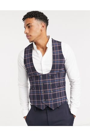 ASOS Wedding super skinny suit waistcoat in pink check