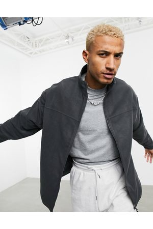 ASOS Muži Fleecové - Oversized polar fleece track jacket in charcoal grey