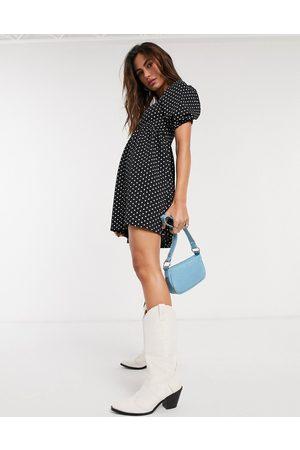 Topshop Baby doll mini dress in monochrome spot-Black