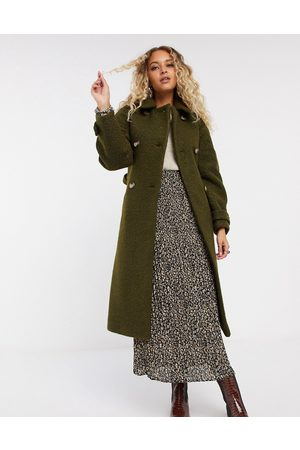 Topshop Boucle trench coat in khaki-Green