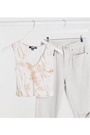 Missguided Co-ord cropped vest in camel tie dye-Multi