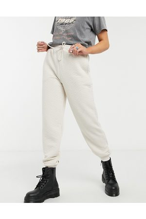 Topshop Ženy Tepláky - Quilted joggers in ecru-White