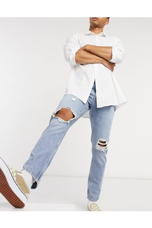 ASOS Slim jeans in vintage light wash with knee rips-Blue