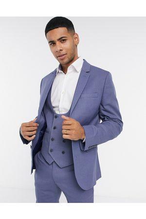 ASOS Muži Saka - Wedding super skinny suit jacket with micro texture in mid blue