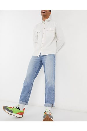 ASOS Muži Rovné nohavice - Straight crop jeans in vintage light wash blue