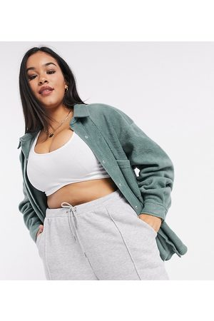 ASOS ASOS DESIGN Curve oversized shacket in fleece-Green