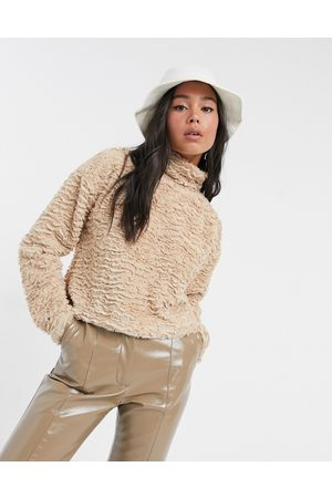 Noisy May Textured fluffy top with high neck in camel-Beige