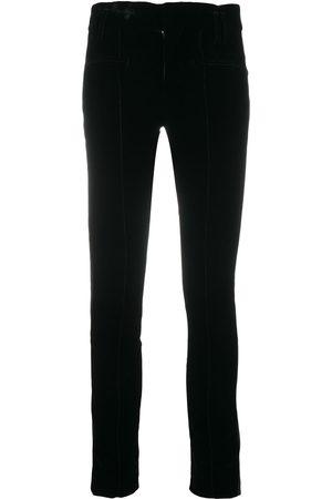 Haider Ackermann Velvet/leather contrast trousers