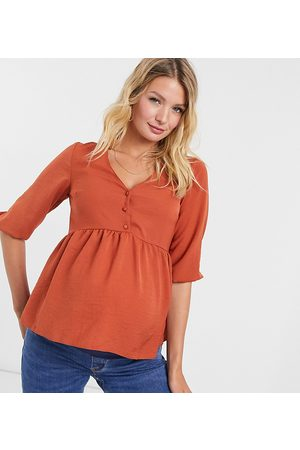 New Look Ženy Topy - Button detail peplum top in rust-Brown