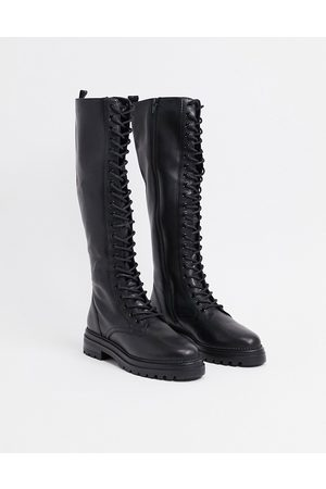Steve Madden Namira lace up knee high boot in black leather