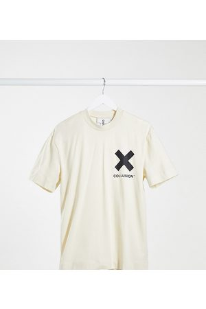 COLLUSION Unisex logo organic cotton t-shirt in off-white