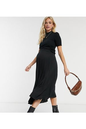 ASOS ASOS DESIGN Maternity pleated midi skirt in black