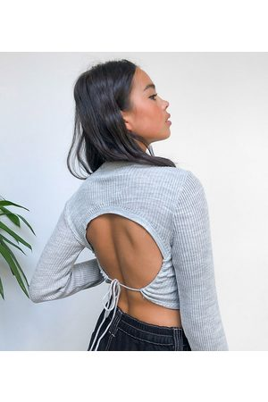 COLLUSION Knitted top with open back in grey