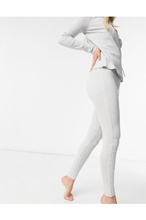 Pieces Ribbed lounge leggings co-ord in light grey