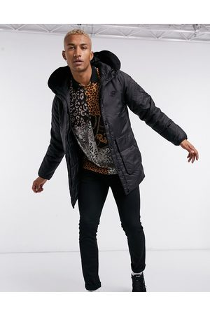 SikSilk Puffer parka with logo hood in black