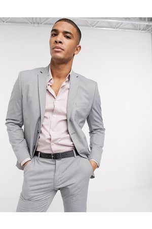 Selected Suit jacket with stretch in slim fit light grey
