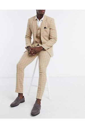 ASOS Muži Úzké nohavice - Wedding skinny wool mix suit trousers in camel houndstooth check-Beige