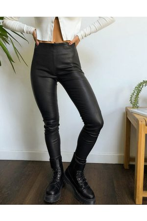 Selected Ženy Kožené kalhoty - Femme real leather leggings in black