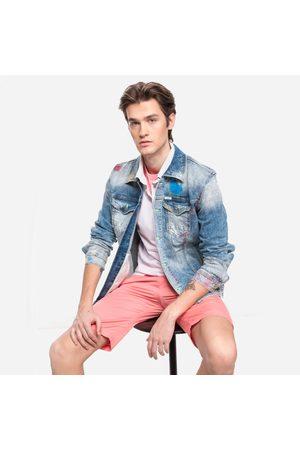 Guess Muži Džínové bundy - Pánská džínová bunda s barevnými prvky