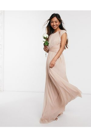 ASOS Bridesmaid ruched bodice maxi dress with cap sleeve detail-Pink