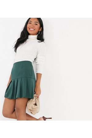 ASOS Petite pleated mini skirt in forest green