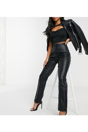 4th & Reckless Petite Pu flare trouser with side split detail in black
