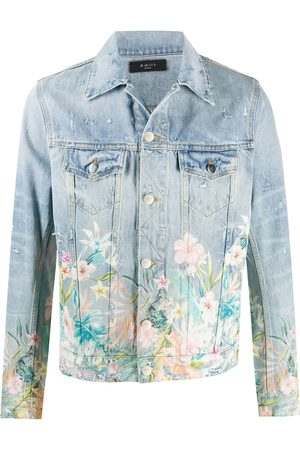 AMIRI Floral-detail denim jacket