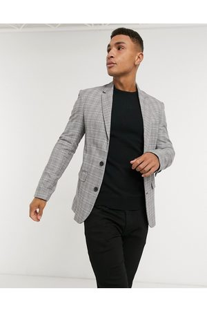 New Look Skinny check suit jacket in grey