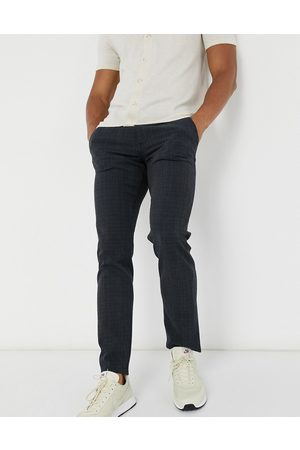 Selected Muži Chino - Slim fit trouser in navy check