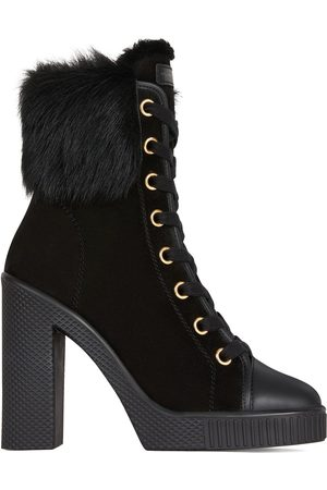 Giuseppe Zanotti Lace-up fur shearling trim boots