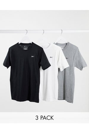 Reebok 3 pack t-shirts in black white & grey-Multi