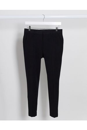ASOS Muži Chino - Extreme super skinny crop smart trousers in black