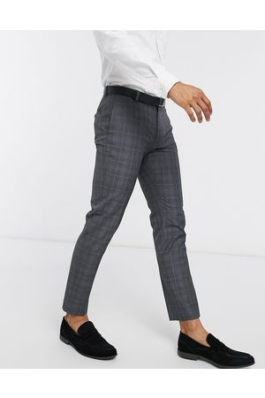 Burton Skinny smart trousers in grey & blue check