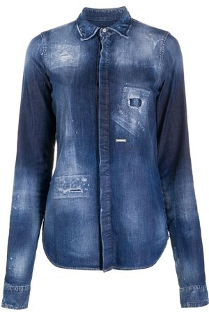 Dsquared2 Distressed stonewashed denim shirt