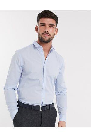 New Look Long sleeve poplin shirt in blue