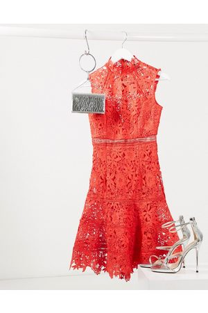 Bardot Drop waist midi lace dress in red