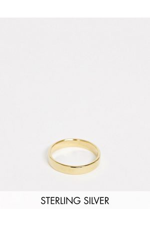 ASOS Muži Prstýnky - Sterling silver band ring in 14k gold plate