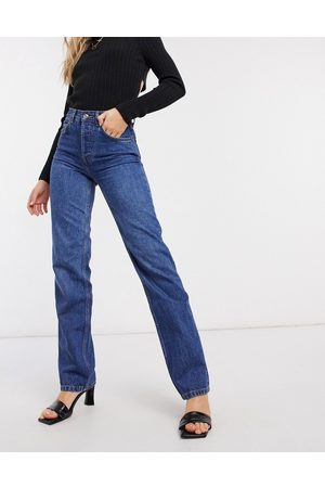 ASOS Ženy S vysokým pasem - High rise stretch 'effortless' crop kick flare jeans in smokey darkwash-Blue