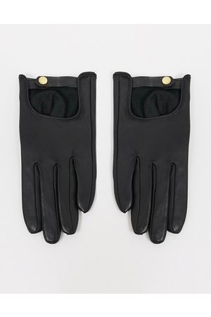 ASOS Leather plain gloves with touch screen in black