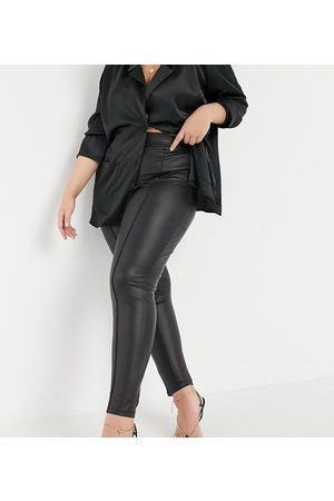 ASOS ASOS DESIGN Curve leather look legging with pintuck in black