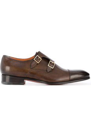 santoni Double-buckle leather shoes