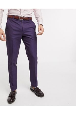 ASOS Muži Úzké nohavice - Wedding skinny wool mix suit trousers in soft berry twill-Red