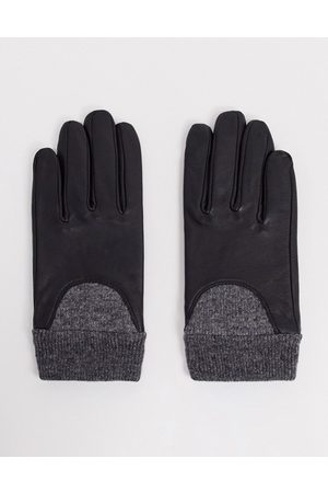 ASOS Leather gloves with touch screen and rib cuff-Black