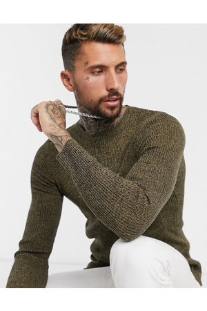 ASOS Muscle fit ribbed jumper in tan twist