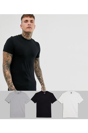 ASOS DESIGN 3 pack muscle fit t-shirt with crew neck-Multi