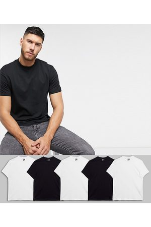 ASOS 5 pack organic t-shirt with crew neck save-Multi