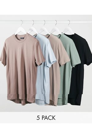 ASOS 5 pack longline t-shirt with side splits-Multi