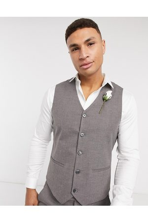 ASOS Wedding super skinny suit waistcoat in charcoal micro texture-Grey