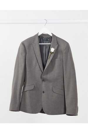 ASOS Wedding super skinny suit jacket in charcoal micro texture-Grey